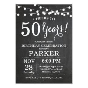 50th Birthday Invitation Chalkboard