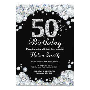 50th Birthday Invitation Chalkboard Silver Diamond