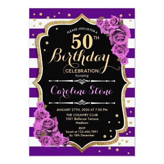 50th Birthday Invitations Purple Gold With Roses