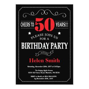 50th Birthday Invitation Red and Black Chalkboard