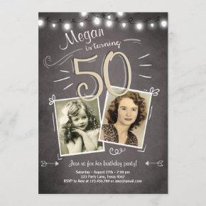 50th Birthday Invitation Vintage Fifty Birthday