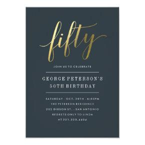 50th Birthday Invitations -  Formal Faux Gold