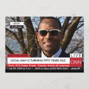 50th Birthday Men's Funny Breaking News TV Graphic Invitation