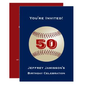 50th Birthday Party, Baseball Blue and Red Invitation