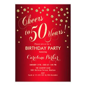 50th Birthday Party - Gold Red Invitation