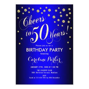 50th Birthday Party - Gold Royal Blue Invitation