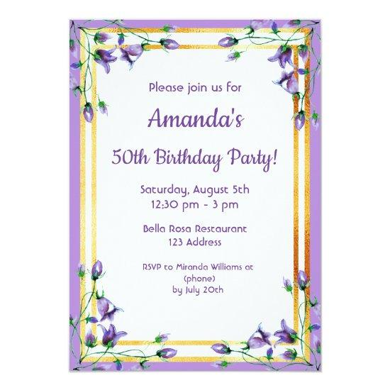 50th Birthday Party Invitation Bluebells Gold Candied Clouds