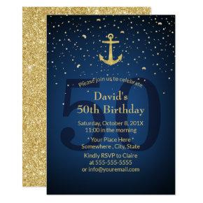 50th Birthday Party Navy Blue Nautical Gold Anchor Card