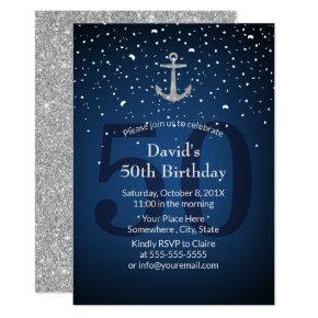 50th Birthday Party Navy Blue & Silver Anchor Invitation