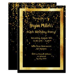 50th birthday party on black with faux gold frame Invitations