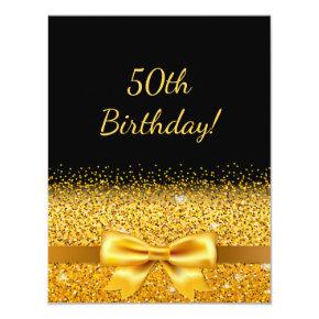 50th birthday party on black with gold bow sparkle invitation