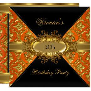 50th Birthday Party Orange Gold Black Damask Invitations