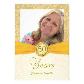 50th Birthday Party Photo -Gold Damask Invitation