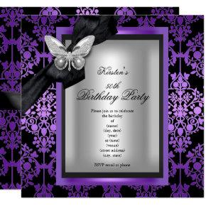 50th Birthday Party Purple Silver Damask Butterfly Invitations