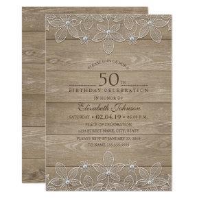 50th birthday party Rustic Wood Unique Lace Invitation
