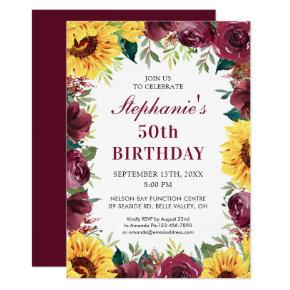 50th Birthday Party Sunflower Burgundy Rose Border Invitation