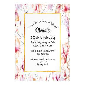 50th birthday pink magnolia florals white gold magnetic invitation