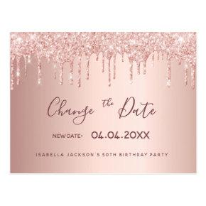 50th birthday rose gold glitter change the date post