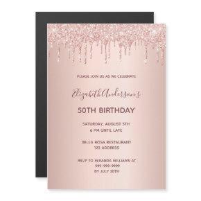 50th birthday rose gold glitter drip invitation
