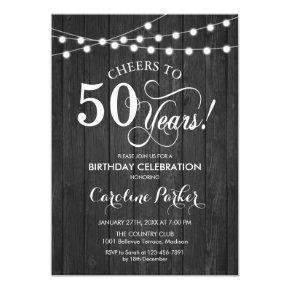 50th Birthday - Rustic Gray Wood Pattern Invitation