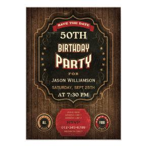 50th Birthday Save The Date Chalkboard & Wood Card
