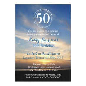 50th Birthday Sunset Beach Invitation Template