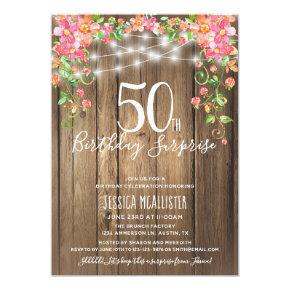 50th Birthday Surprise Brunch Rustic Floral Wood Invitation