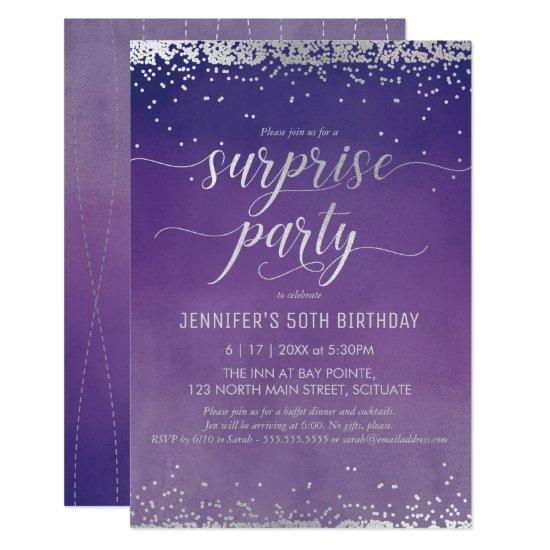 50th birthday surprise party invitations elegant candied clouds