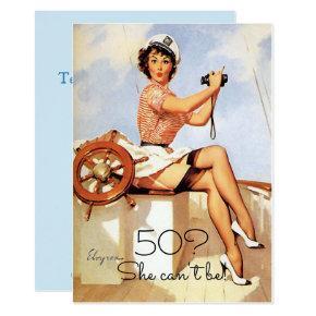 50th Birthday, Vintage, Sexy Pin Up Girl, Custom Invitation