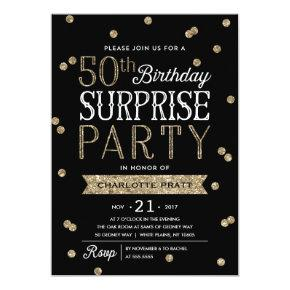 50th Glitter Confetti Surprise Party Invitations
