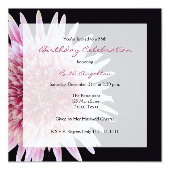 55th Birthday Party Invitation Gerbera Daisy