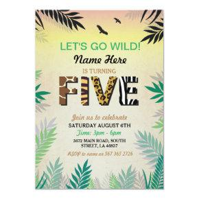 5TH Jungle Fifth  Birthday Party Safari ZOO Invite