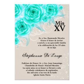 5x7 Aqua Roses Quinceanera Birthday Invitation
