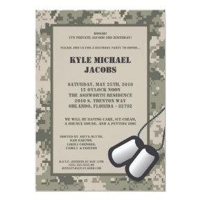Birthday Party Invitation ARMY Camo ACU Print
