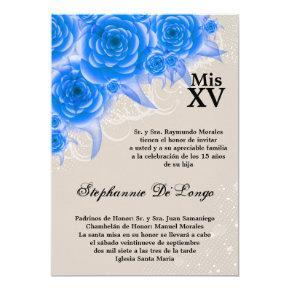 5x7 Blue Roses Quinceanera Birthday Invitation