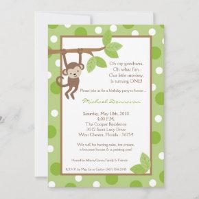 Boy Blue Monkey Jungle Birthday Invitation