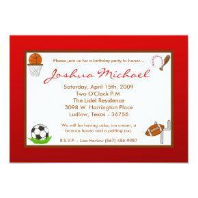 Boy Sports Football Birthday Party Invitations