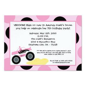 Girly 4x4 ATV Truck Birthday Party Invitation