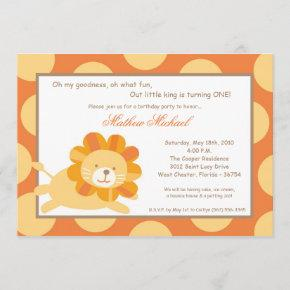 King of the Jungle Lion Birthday Invitation