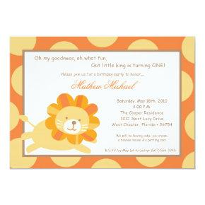 King of the Jungle Lion Birthday Invitation