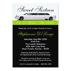 Limo party birthday invitations candied clouds 5x7 lime green limo sweet 16 birthday invitation stopboris Image collections
