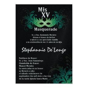 Green Masquerade Party Birthday Invitations Candied Clouds