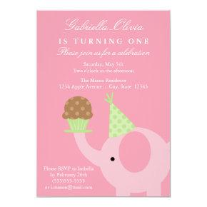 Pink Elephant Birthday Invitations