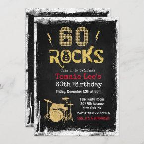 60 Rocks Rockstar Guitar 60th Birthday Invitation