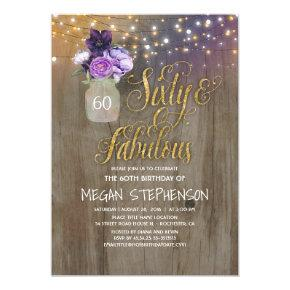 60 Rustic Birthday - Purple Flowers Mason Jar Gold Invitation
