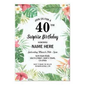 60th 50th 40th 30th Birthday Party Tropical Invite
