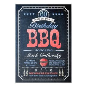 60th Birthday BBQ Invitations | Chalkboard