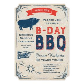 60th Birthday BBQ Party All American Vintage Invitations