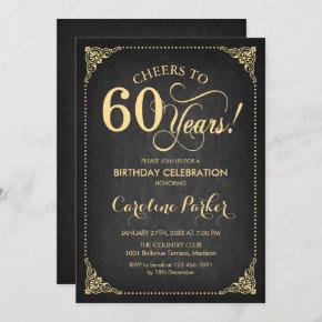 60th Birthday - Chalkboard Gold Invitation