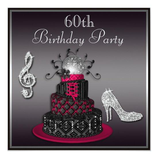 Outstanding 60Th Birthday Disco Diva Cake And Heels Hot Pink Candied Clouds Birthday Cards Printable Inklcafe Filternl